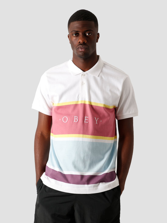 Obey Pledge Polo SS White Multi 131090057 WTM