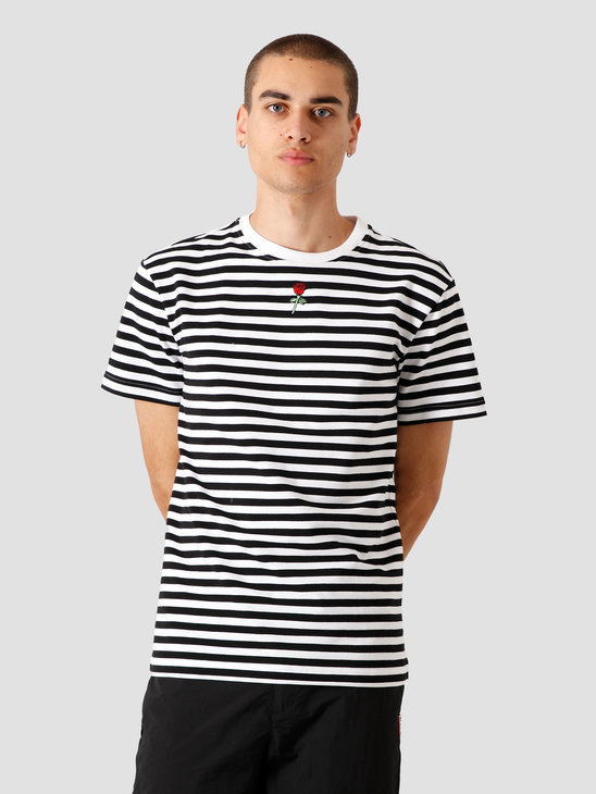 Stranger Society Crew Logo Striped T-Shirt Black White