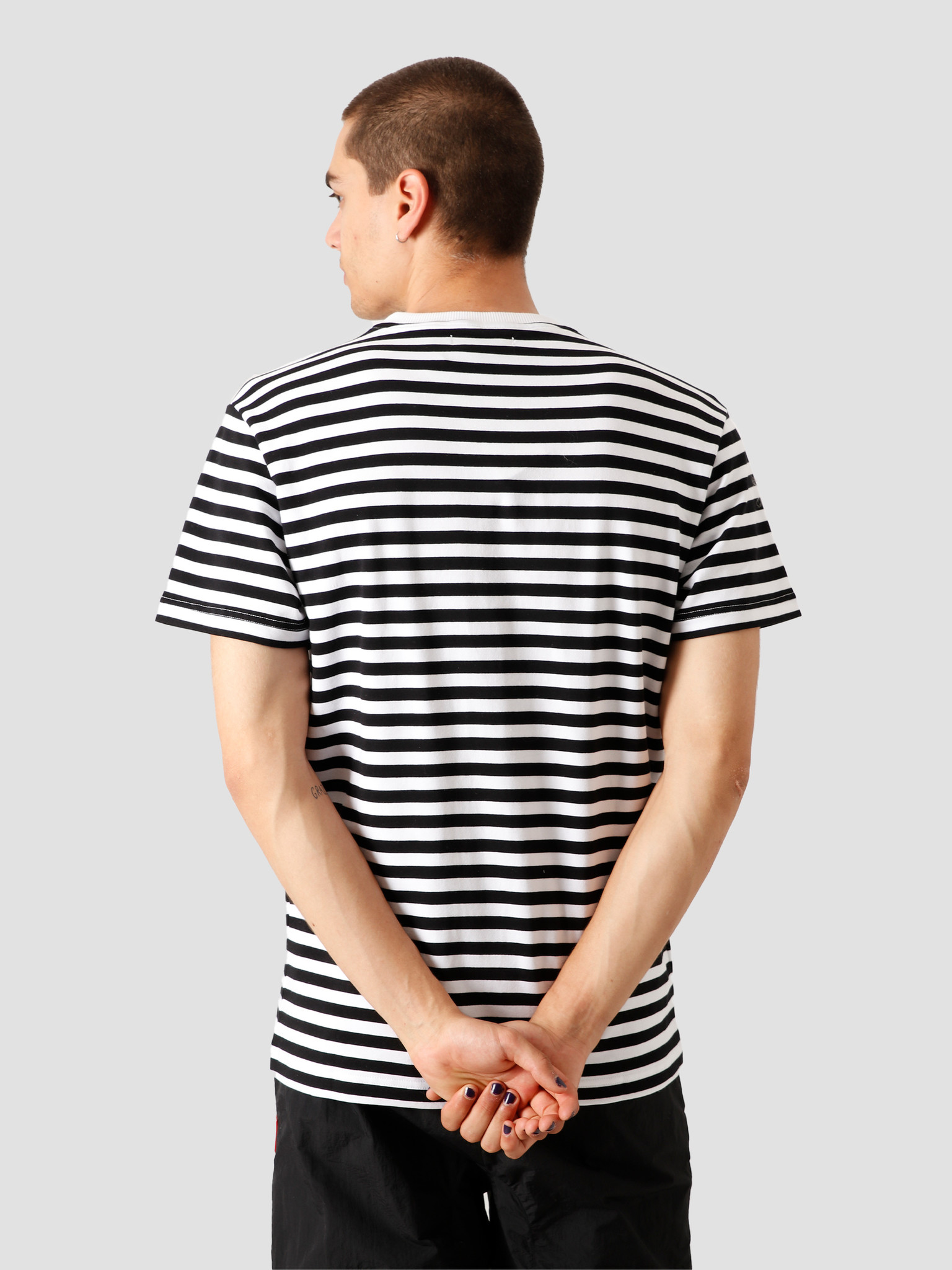 Stranger Society Stranger Society Crew Logo Striped T-Shirt Black White