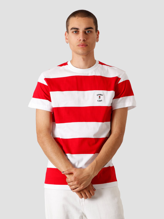 Stranger Society Crew Logo Striped T-Shirt Red White