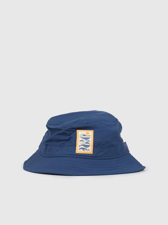 Patagonia Wavefarer Bucket Hat Whale Tail Tubes Stone Blue 29156