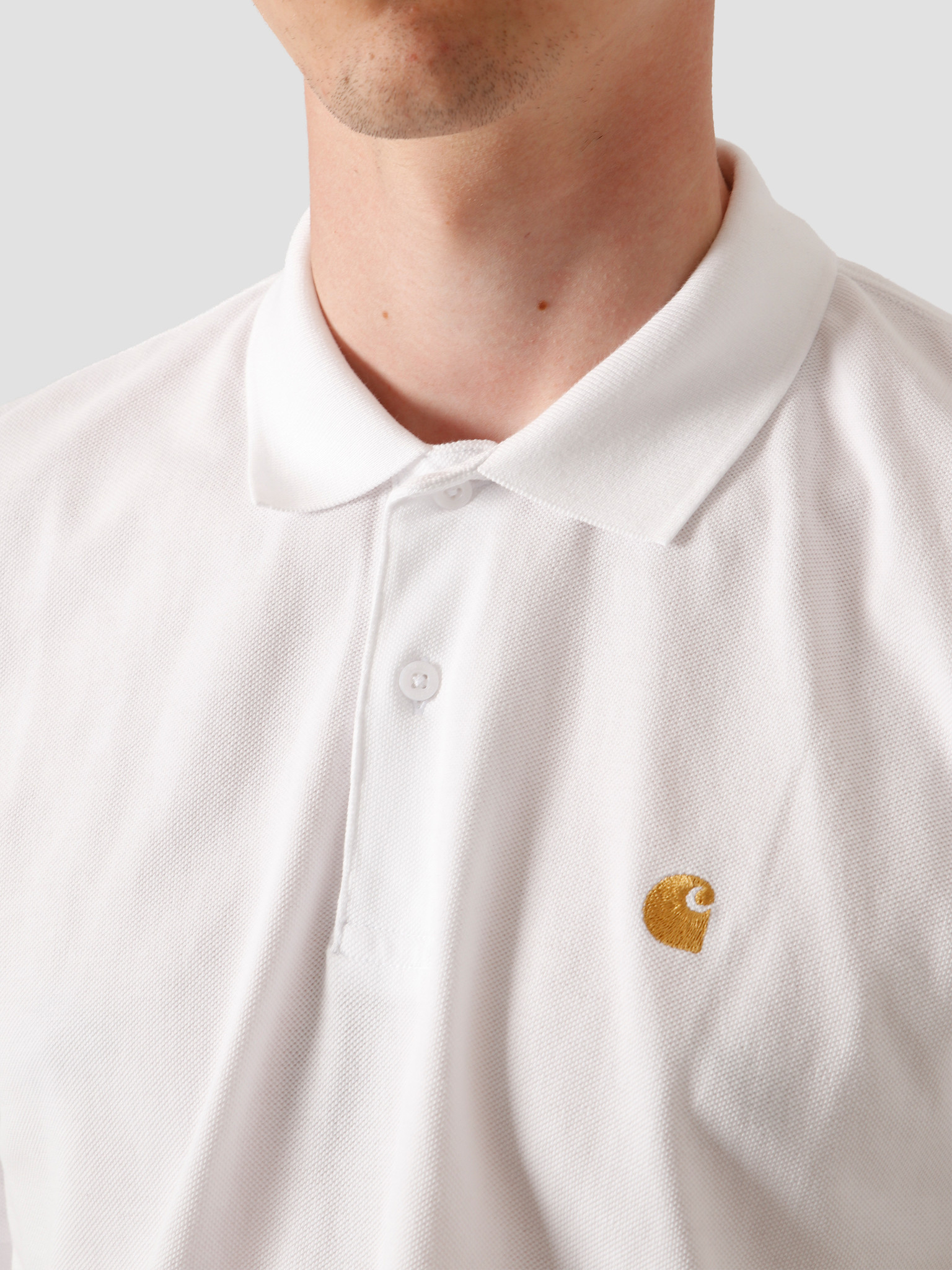 Carhartt WIP Carhartt WIP Chase Pique Polo White Gold I023807