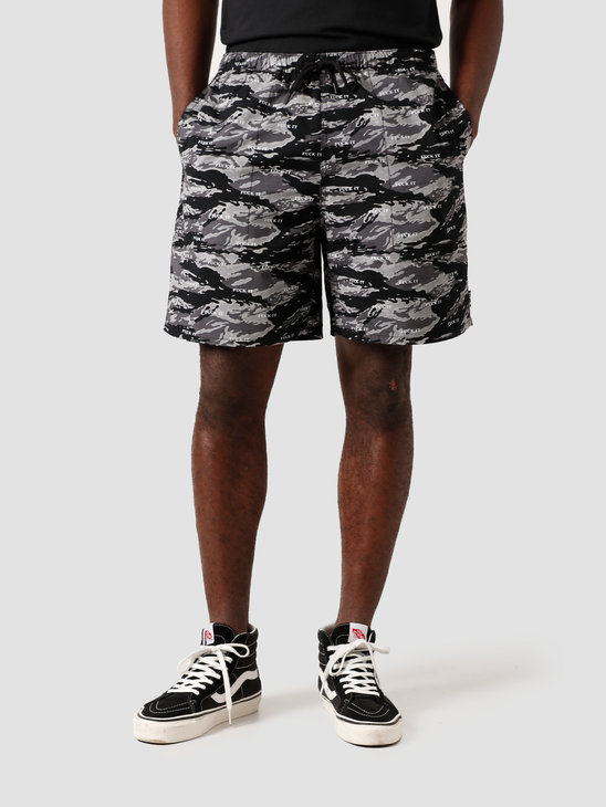 HUF Fuck It Tiger Camo Easy Short Black PT00123