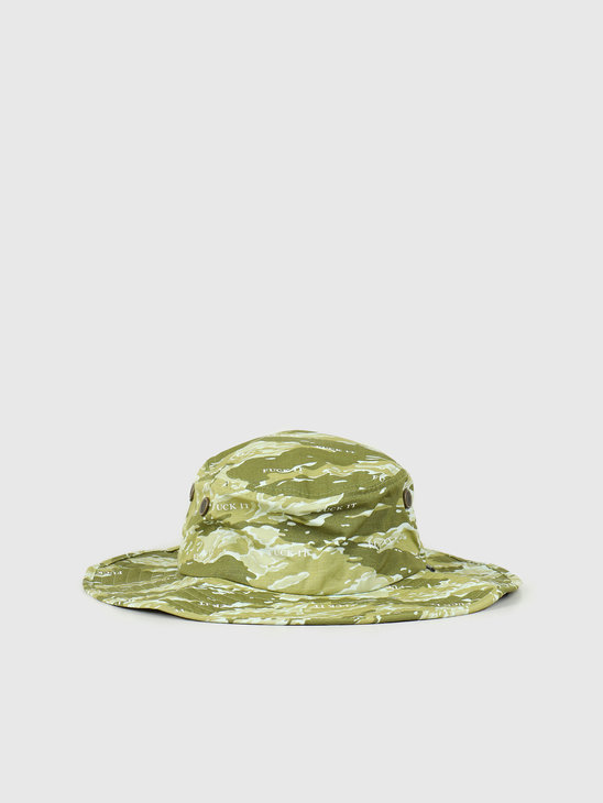 HUF Fuck It Tiger Camo Boonie Hat Dusty Olive HT00475