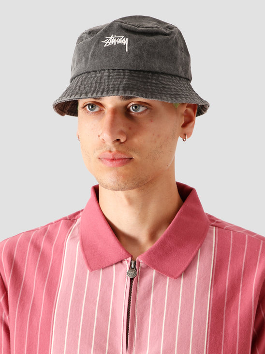 Stussy Stock Washed Bucket Hat Black 132980