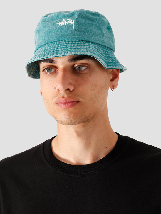Stussy Stock Washed Bucket Hat Green 132980