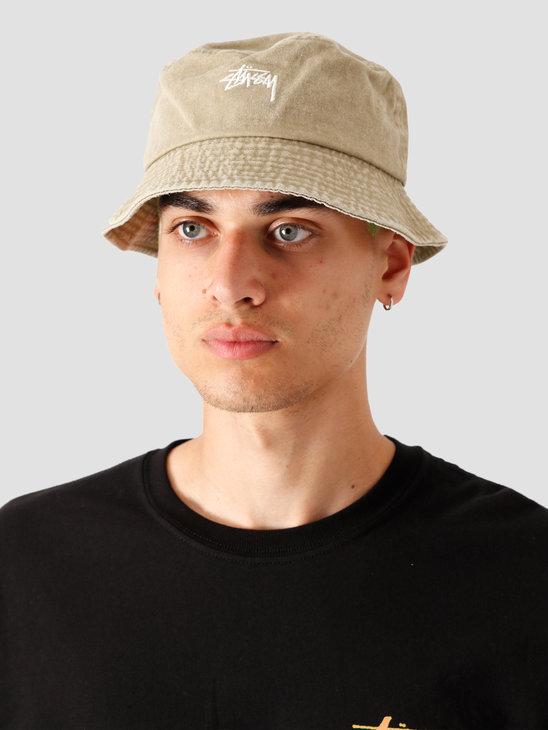 Stussy Stock Washed Bucket Hat Khaki 132980