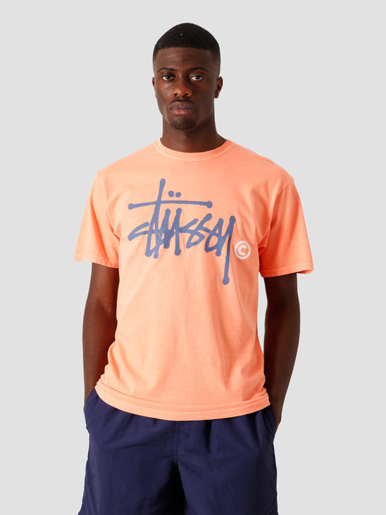 Stussy Basic Logo Pigment Dyed T-Shirt Neon Orange 1904553