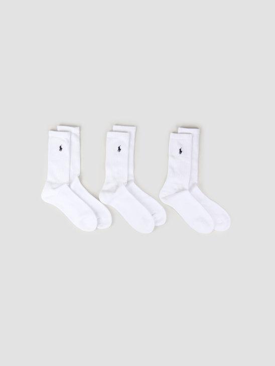 Polo Ralph Lauren 3-Pack Crew Socks White 449655211003