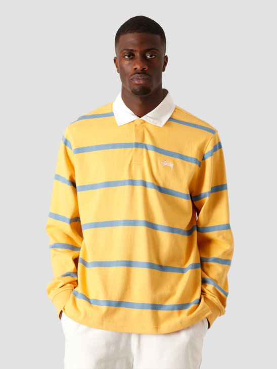 Stussy Hill Stripe Rugby Longsleeve Gold 1140209