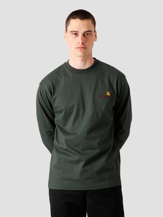 Carhartt WIP American Script Longsleeve T-Shirt Dark Teal I025712-0F200