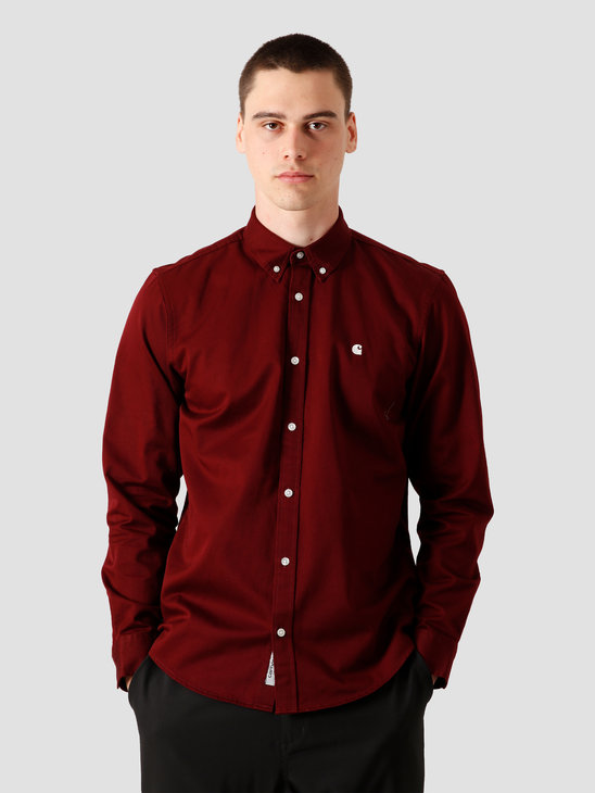Carhartt WIP Longsleeve Madison Shirt Bordeaux Wax I023339-JD90