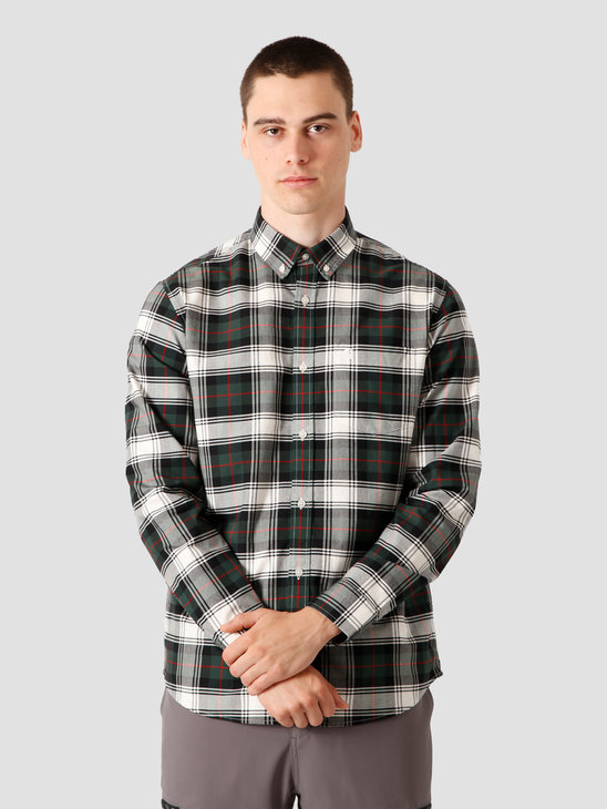 Carhartt WIP Steen Longsleeve Shirt Steen Check, Bottle Green I028227-3C90