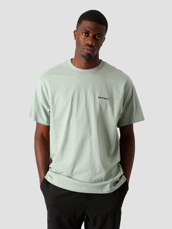 Carhartt WIP Script Embroidery T-Shirt Frosted Green Black I025778-0F390
