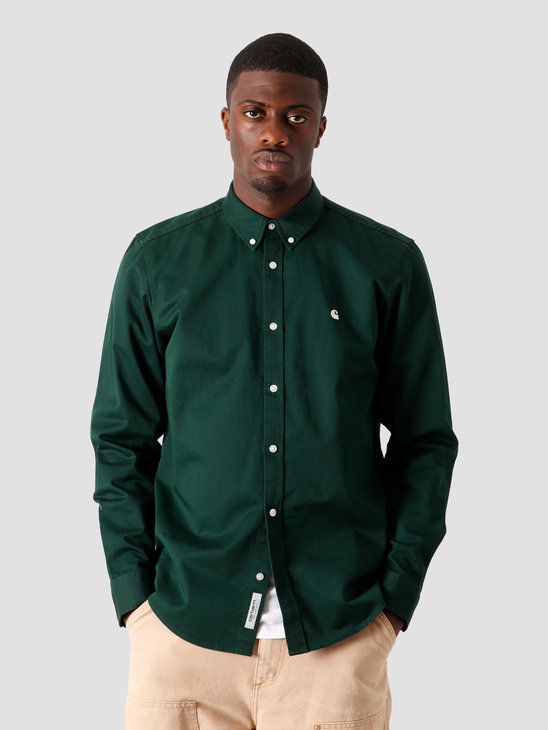 Carhartt WIP Longsleeve Madison Shirt Bottle Green Wax I023339-3C90
