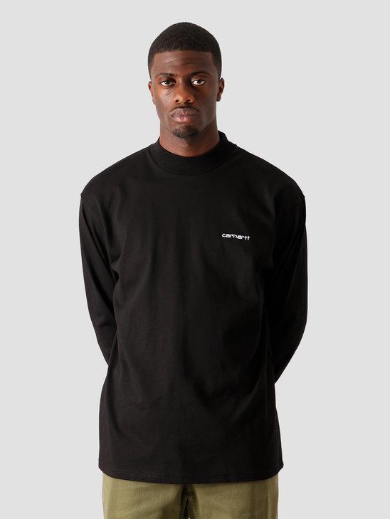 Carhartt WIP Longsleeve Mockneck Script Embro T-S Black White I027040-8990
