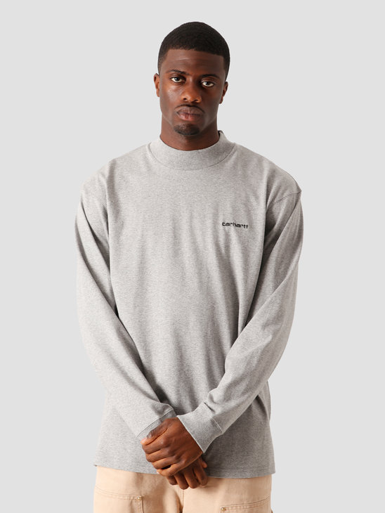 Carhartt WIP Longsleeve Mockneck Script Embro T-S Grey Heather Black I027040-V690