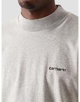 Carhartt WIP Carhartt WIP Longsleeve Mockneck Script Embro T-S Grey Heather Black I027040-V690