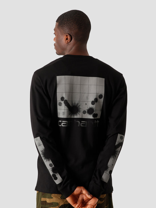 Carhartt WIP Longsleeve Reflective Headlight T-S Black Reflective Grey I028462-8990