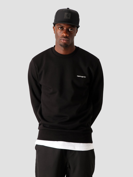 Carhartt WIP Script Embroidery Sweat Black White I027678-8990