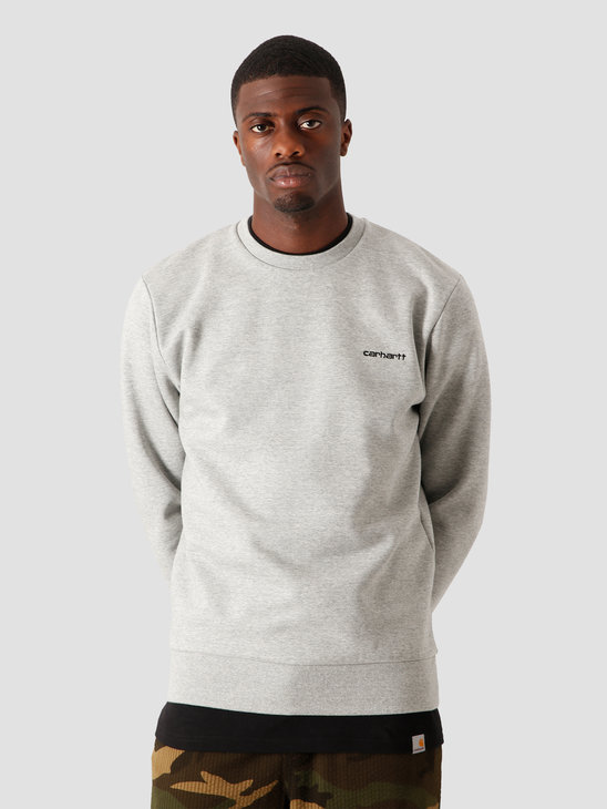 Carhartt WIP Script Embroidery Sweat Grey Heather Black I027678-V690