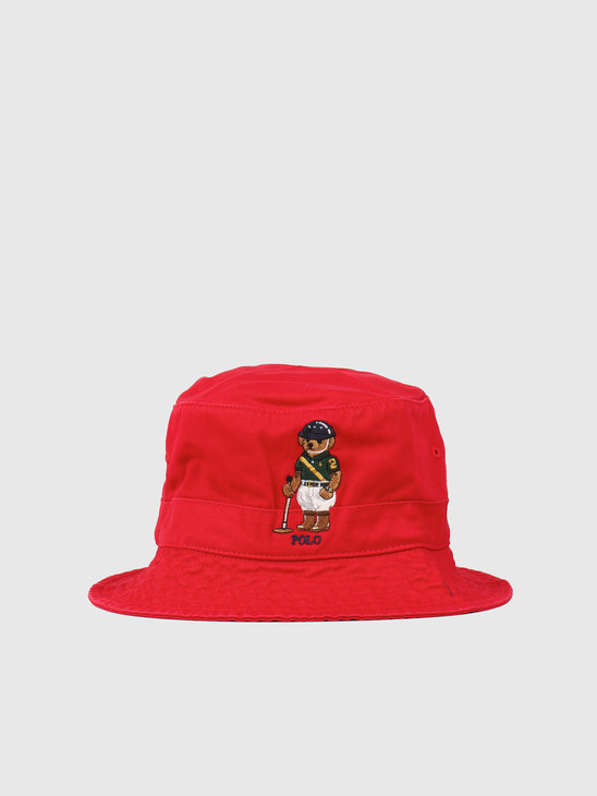 Polo Ralph Lauren Loft Bucket Hat With Bear Rl2000 Red 710798509001