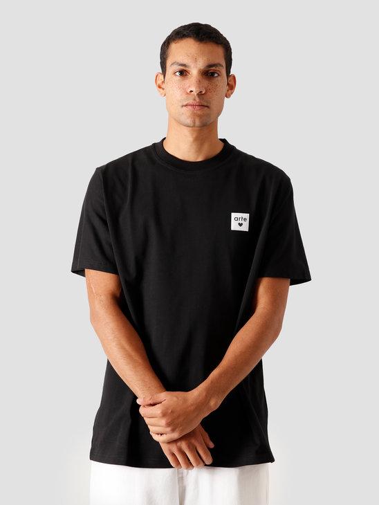 Arte Antwerp Toby Heart Label T-Shirt Black AW20-003T