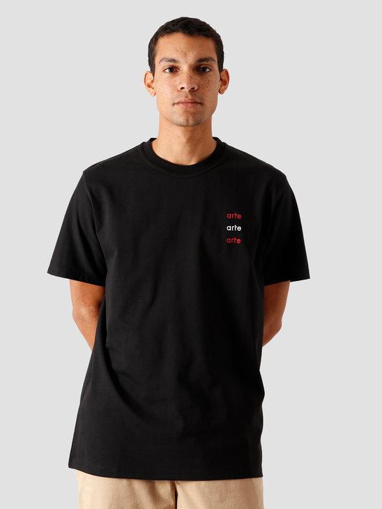 Arte Antwerp Toby Multi Logo T-Shirt Black AW20-005T