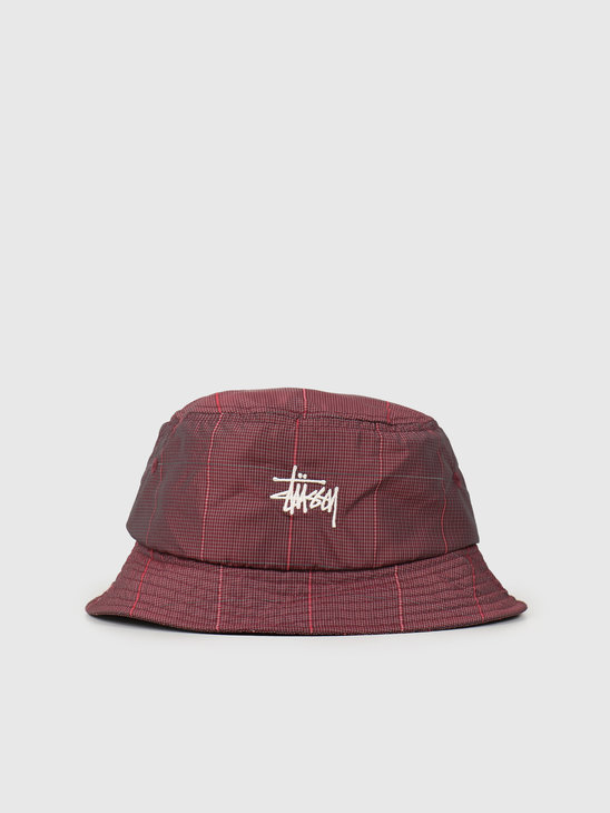 Stussy Reflective Window Pane Bucket Red 132979