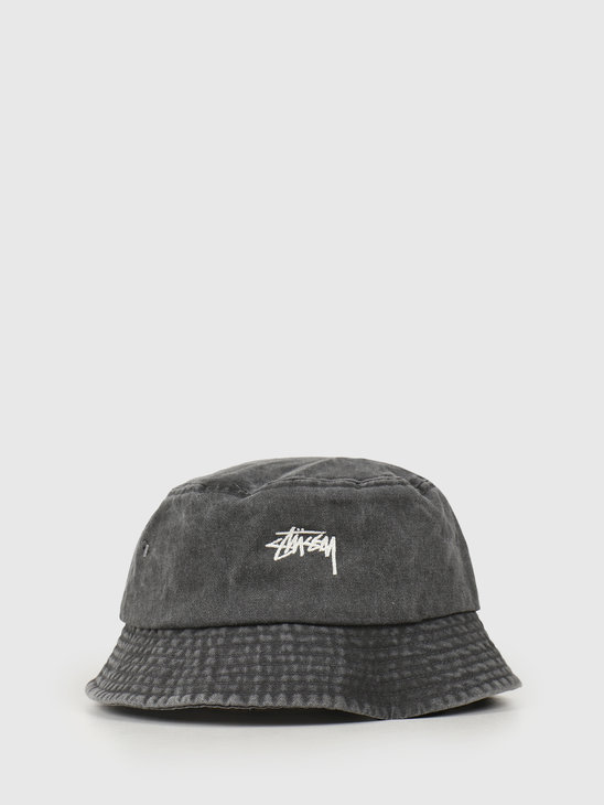 Stussy Stock Washed Bucket Hat Black 132980
