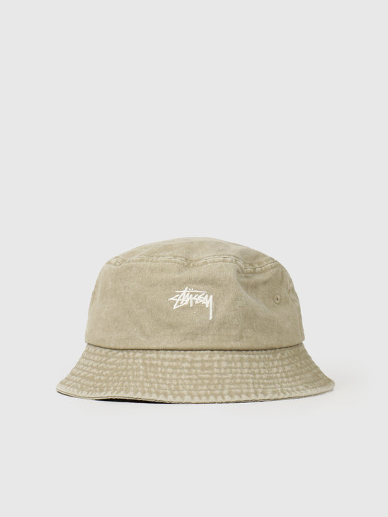 Stussy Stock Washed Bucket Hat Khaki 132980