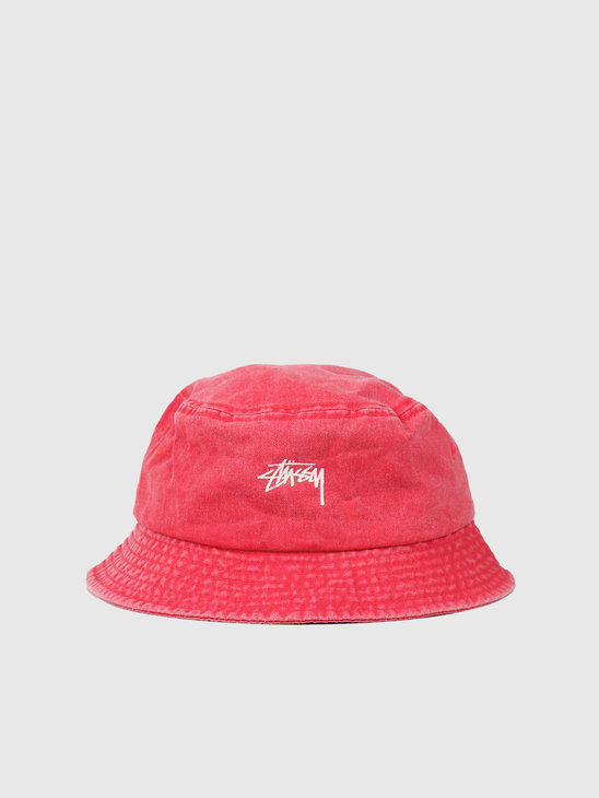 Stussy Stock Washed Bucket Hat Red 132980