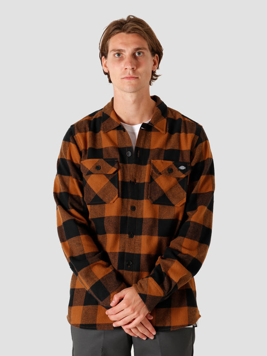 Dickies Sacramento Relaxed Longsleeve Shirt Brown Duck DK0A4X8NBD01