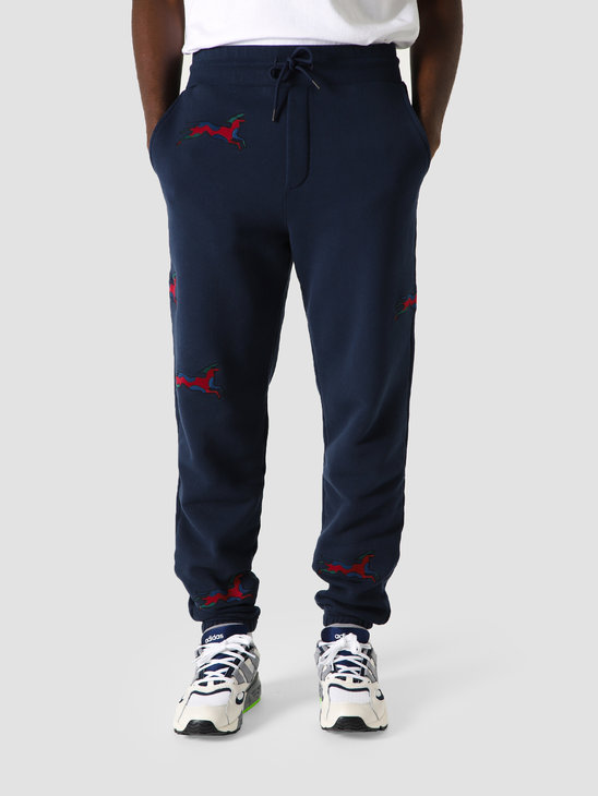 by Parra Jumping Fox Sweat Pants Navy Blue 44105