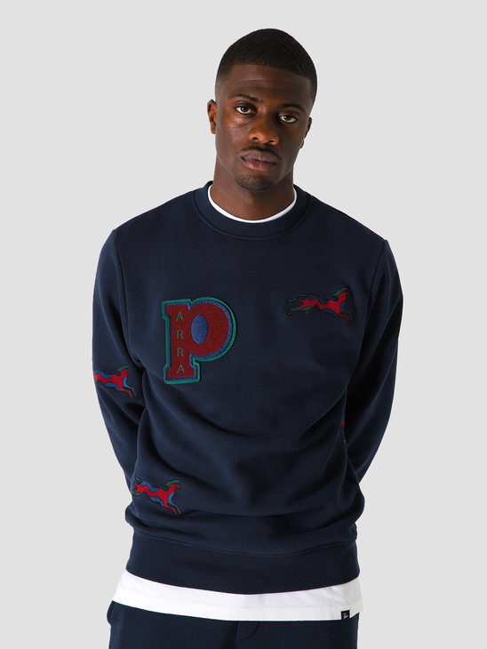 by Parra Jumping Fox Crew Neck Sweatshirt Navy Blue 44090