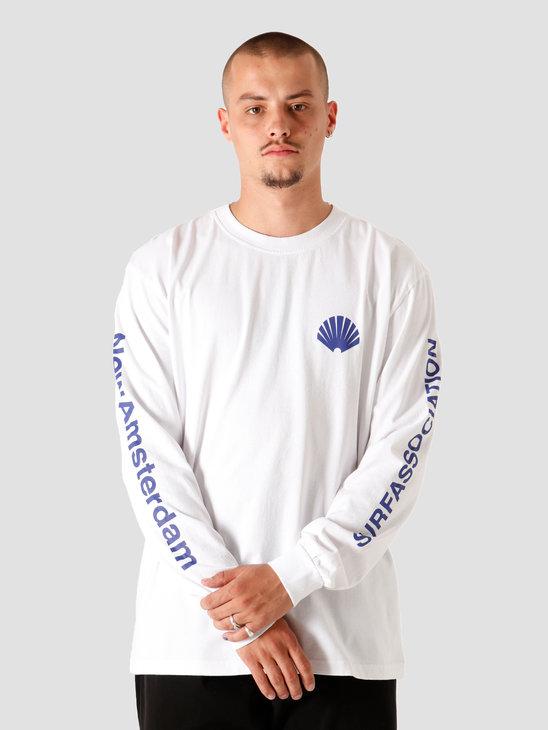 New Amsterdam Surf association Logo Longsleeve White Royal 2020034