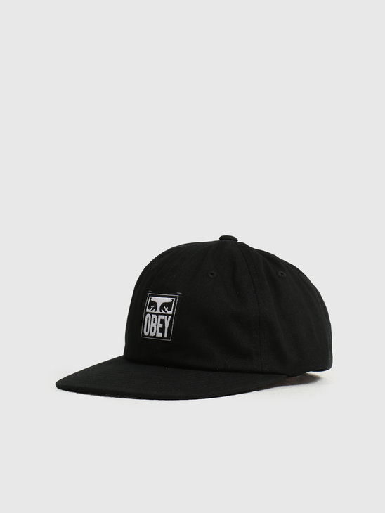 Obey Icon Label 6 Panel Strapback Black 100580252BLK
