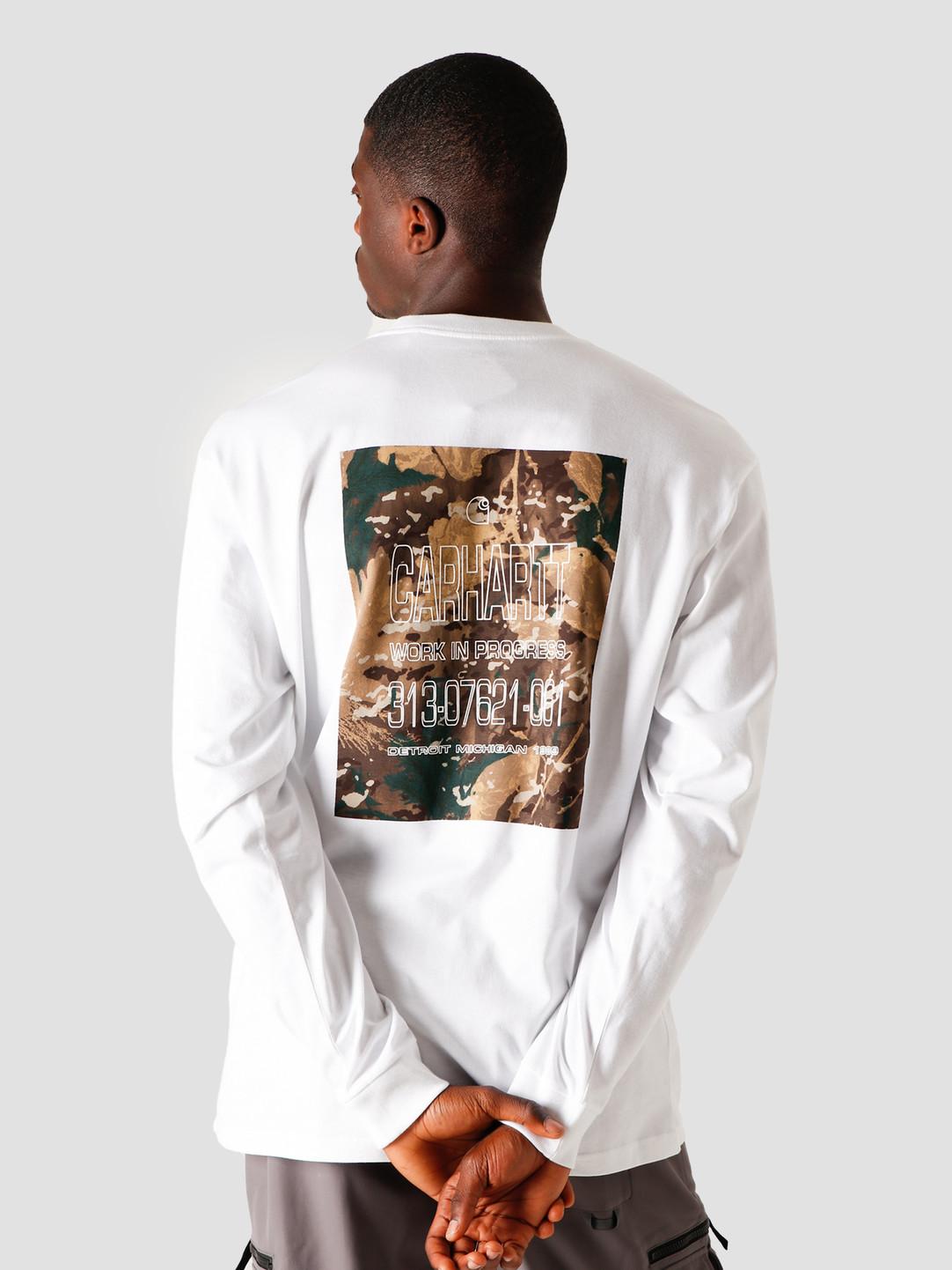 Carhartt WIP Carhartt WIP Longsleeve Camo Mil T-Shirt White I028464-200