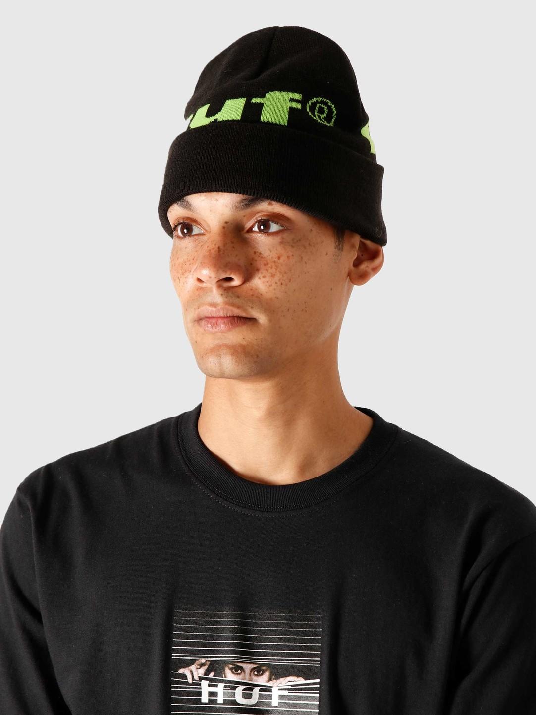 HUF HUF 98 Logo Beanie Black BN00093-BLACK