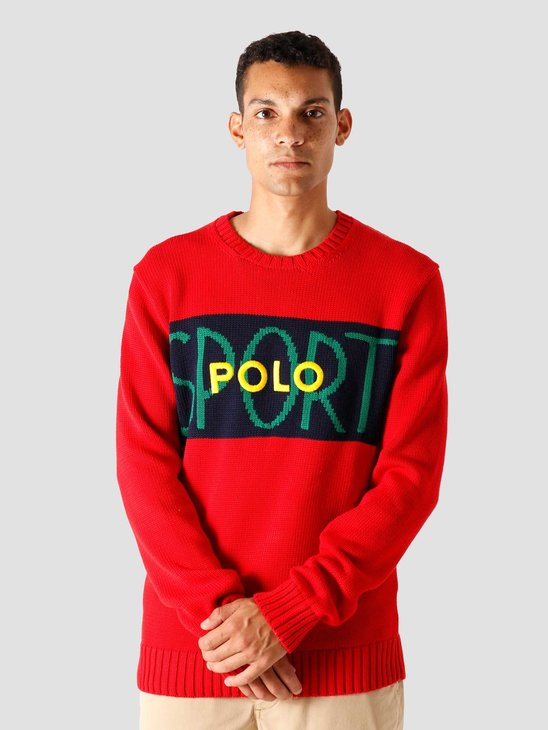 Polo Ralph Lauren Shaker Cotton Sweater Red Multi 710798338001