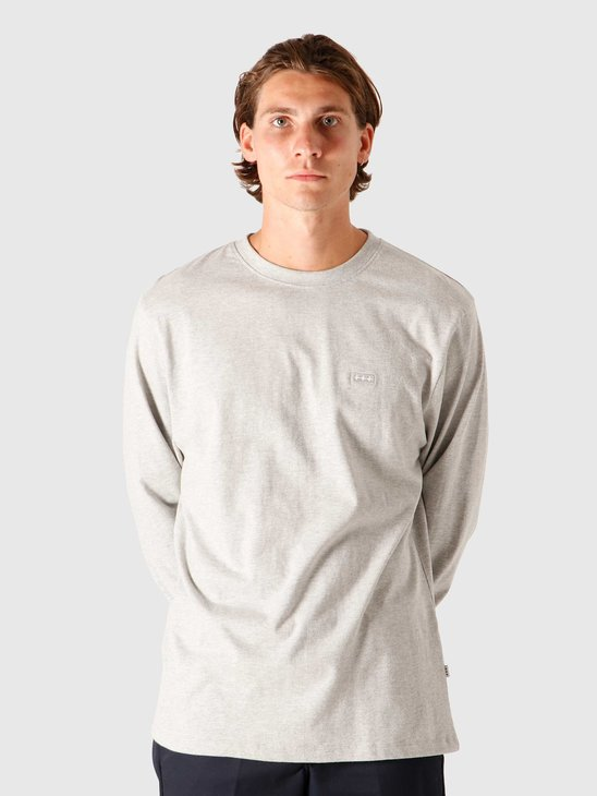 Quality Blanks QB05 Patch Logo Longsleeve Grey Heather