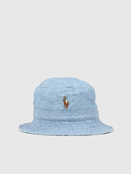Polo Ralph Lauren Loft Bucket Hat Blue Chambray 710798566001