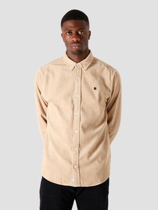 Carhartt WIP Longsleeve Madison Cord Shirt Wall Black I025247