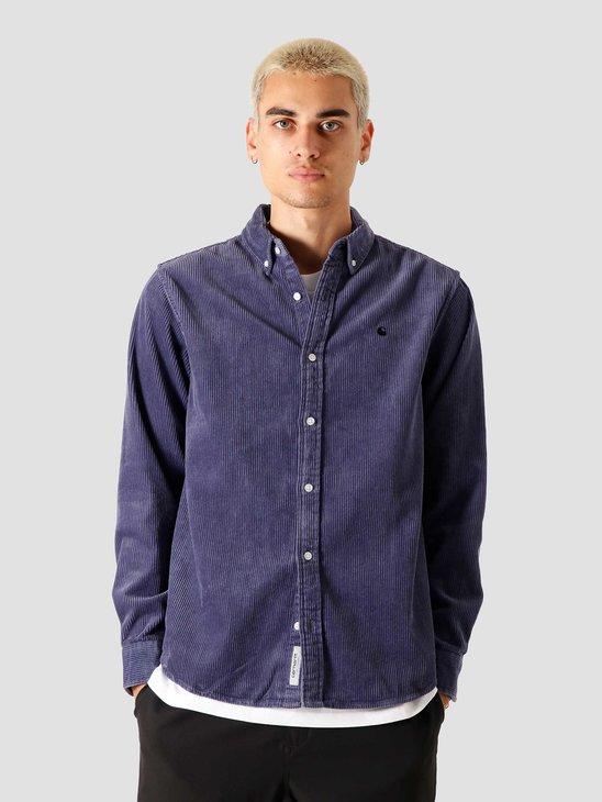 Carhartt WIP Longsleeve Madison Cord Shirt Cold Viola Black I025247-0F190