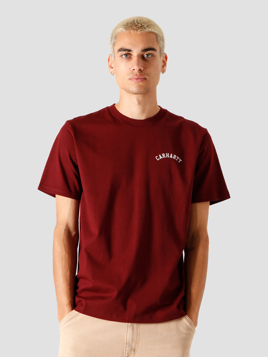 Carhartt WIP University Script T-Shirt Bordeaux White I028369-JD90
