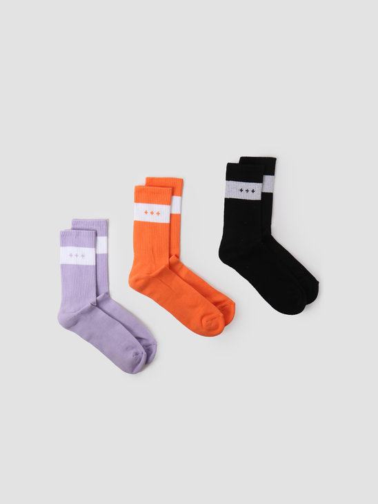 Quality Blanks 3-Pack QB13 Socks Black Salmon Lilac