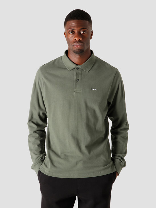 Quality Blanks QB51 Patch Logo LS Polo Light Olive