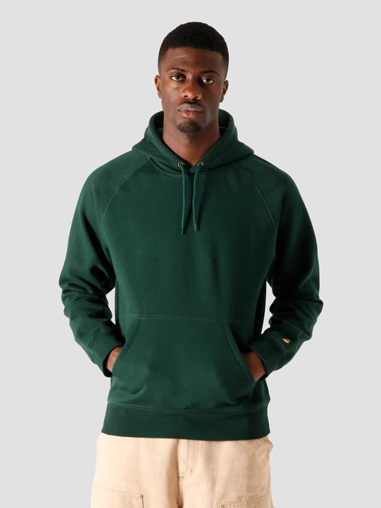 Carhartt WIP Hooded Chase Sweat Bottle Green Gold I026384-3C90