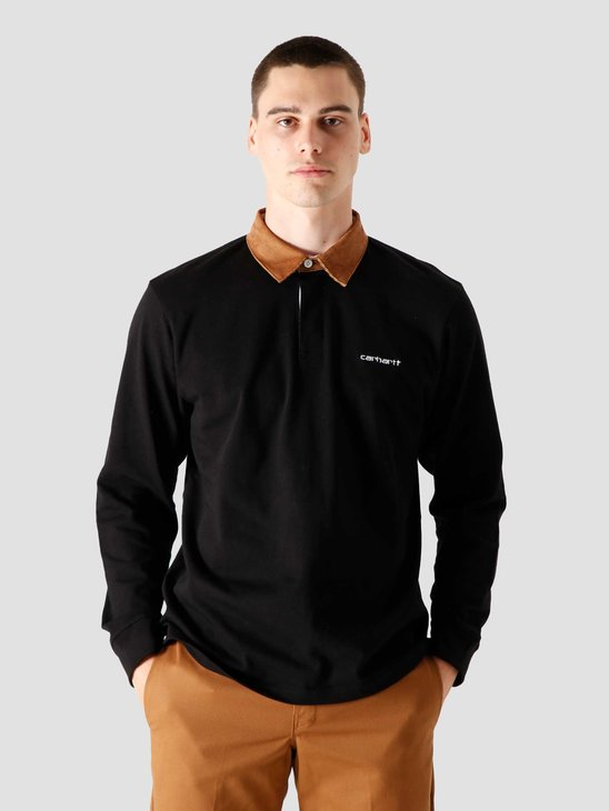 Carhartt WIP Longsleeve Cord Rugby Polo Black Hamilton Brown White I028289-8990