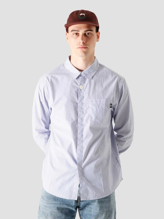 Stussy Big Button Stripe Shirt Blue Stripe 1110125-0980